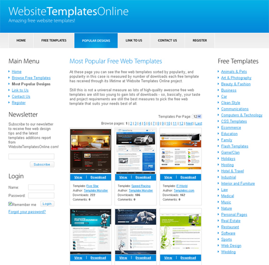 20 places to download free website templates and free flash