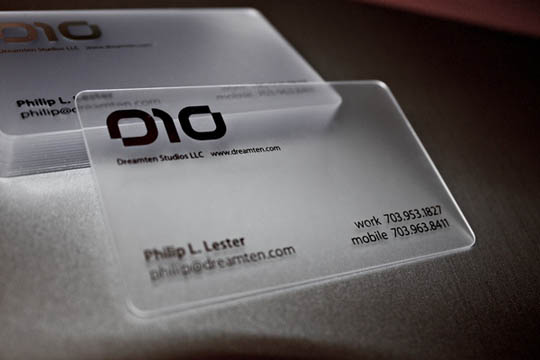 1.transparent and waterproof business cards