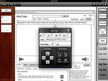 ipad apps - Wireframe Ipad