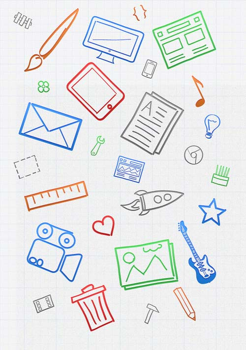 1.free hand drawn icons