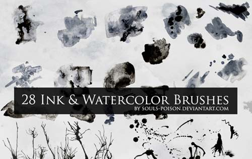 500 + High Quality Ink and Watercolor Brushes For Photoshop