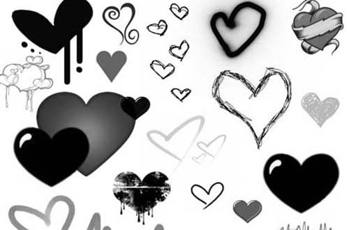 1.photoshop heart brushes