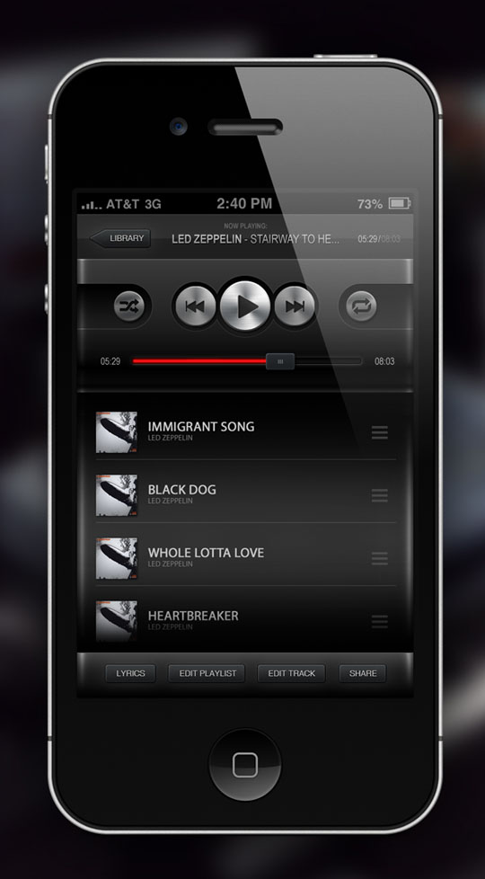 iphone app user interface
