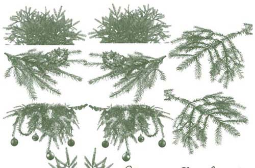 christmas tree and ornament brushes - Christmas Tree Branch Decorations