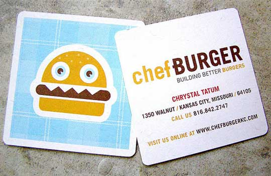 20 stunning cartoon style business card designs designbeep ever seen a cartoon burger before well nows your chance these beautifully colourful and cartoon like business cards from chef burger grab your attention colourmoves Image collections