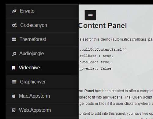 jquery side panel menu plugins