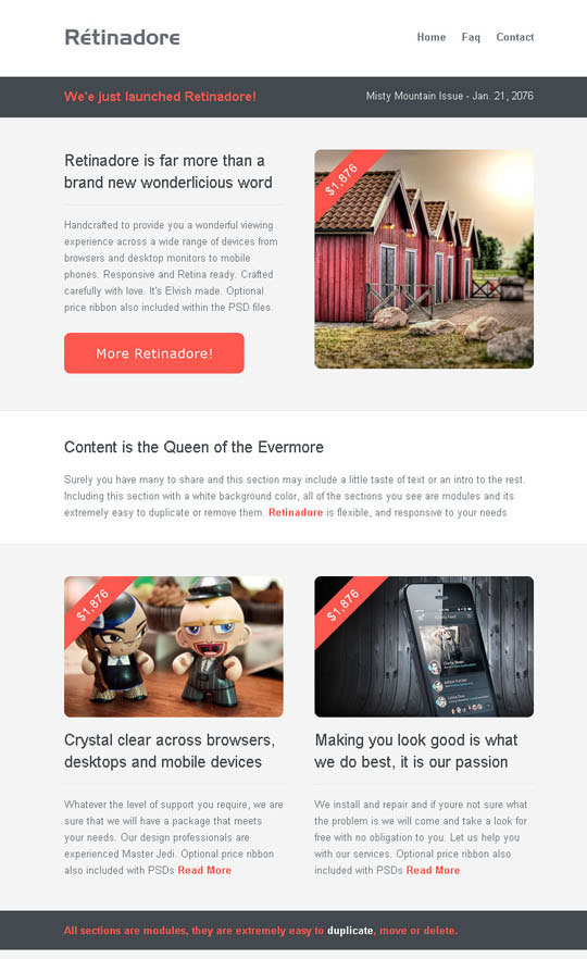 20 best flat style responsive email templates designbeep for Mail chimp newsletter templates