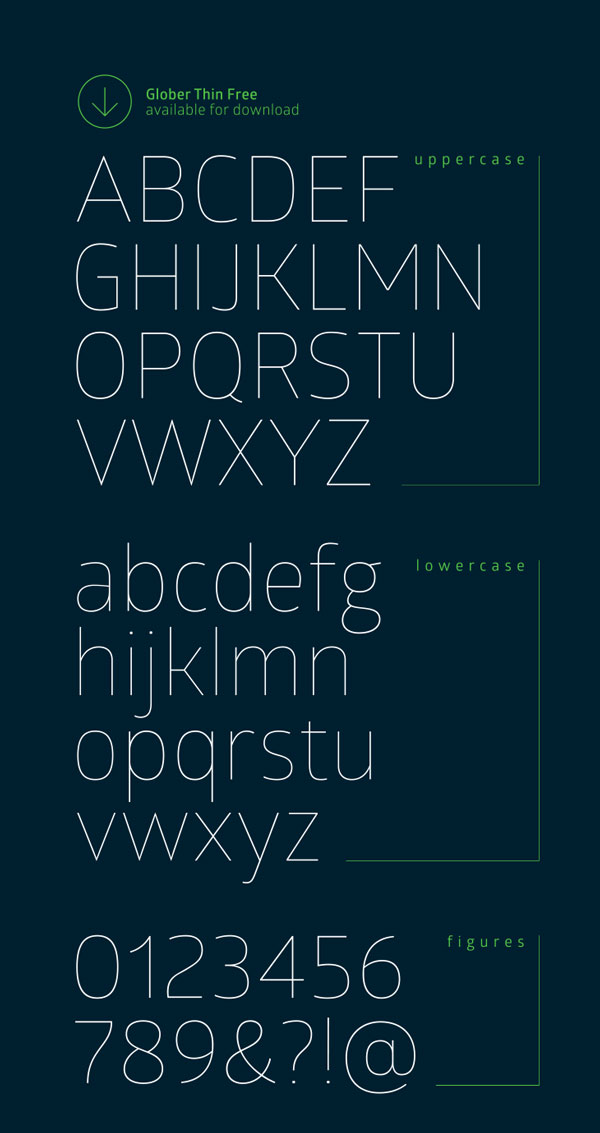 2.Free Font Of The Day  Glober ( thin and bold )