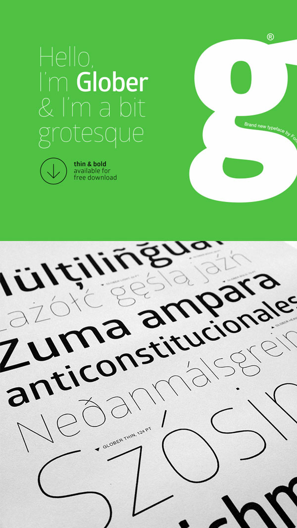 3.Free Font Of The Day  Glober ( thin and bold )