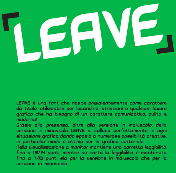 3.free font of the day leave
