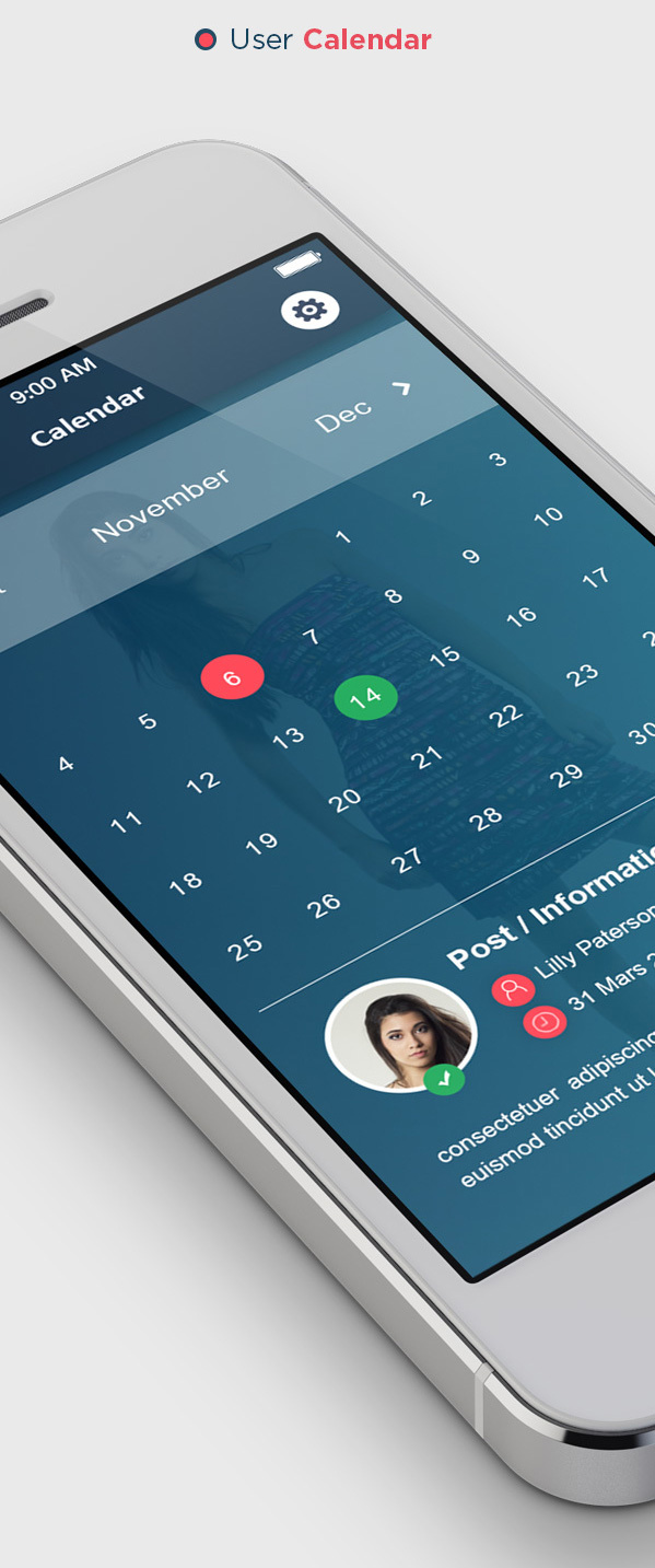 6.Flat Mobile UI Concept
