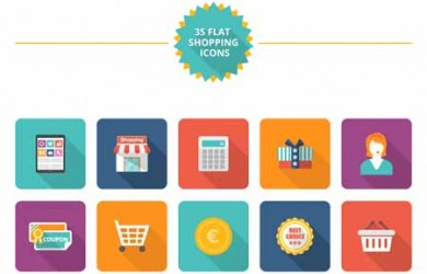 flat-shopping-icon-set