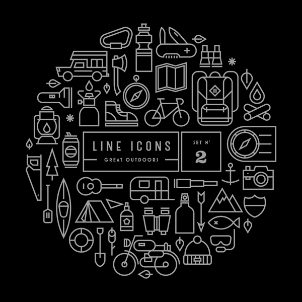 free download : line icon sets (outdoor,kitchen) | designbeep