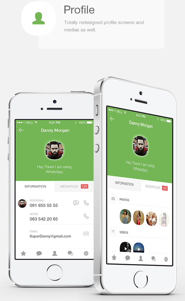 2.Mobile App Design Inspiration – WhatsApp Redesign for iOS 8 (2014)