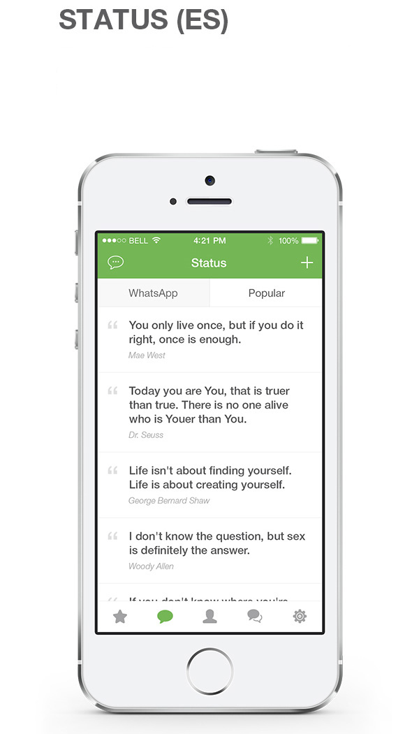 7.Mobile App Design Inspiration – WhatsApp Redesign for iOS 8 (2014)