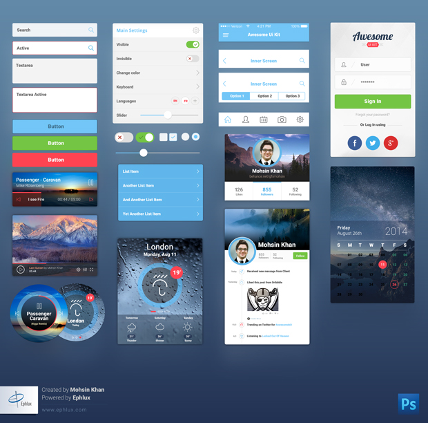 Free Download : Awesome UI Kit for Mobile | Designbeep