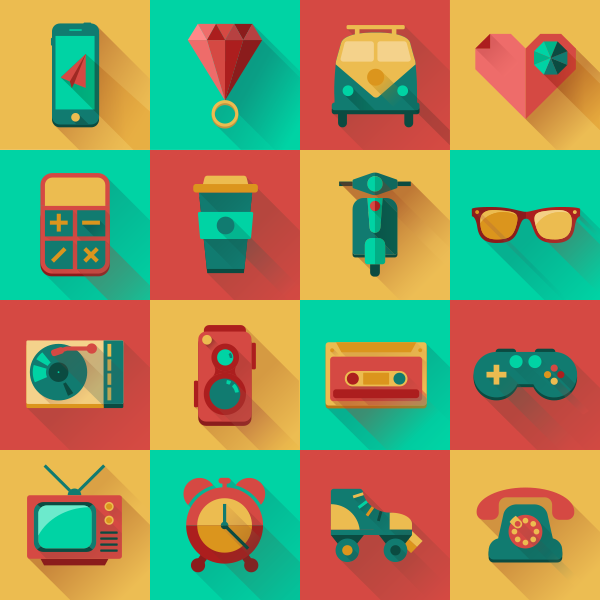Flat Hipster Icons Design Pack