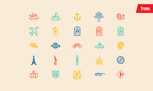 Free Download Travel 30 Vector Icons Designbeep