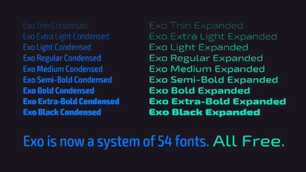 5.Exo Condensed and Expanded free font