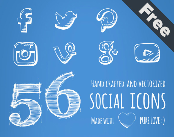 1.Social Hand Drawn Icons