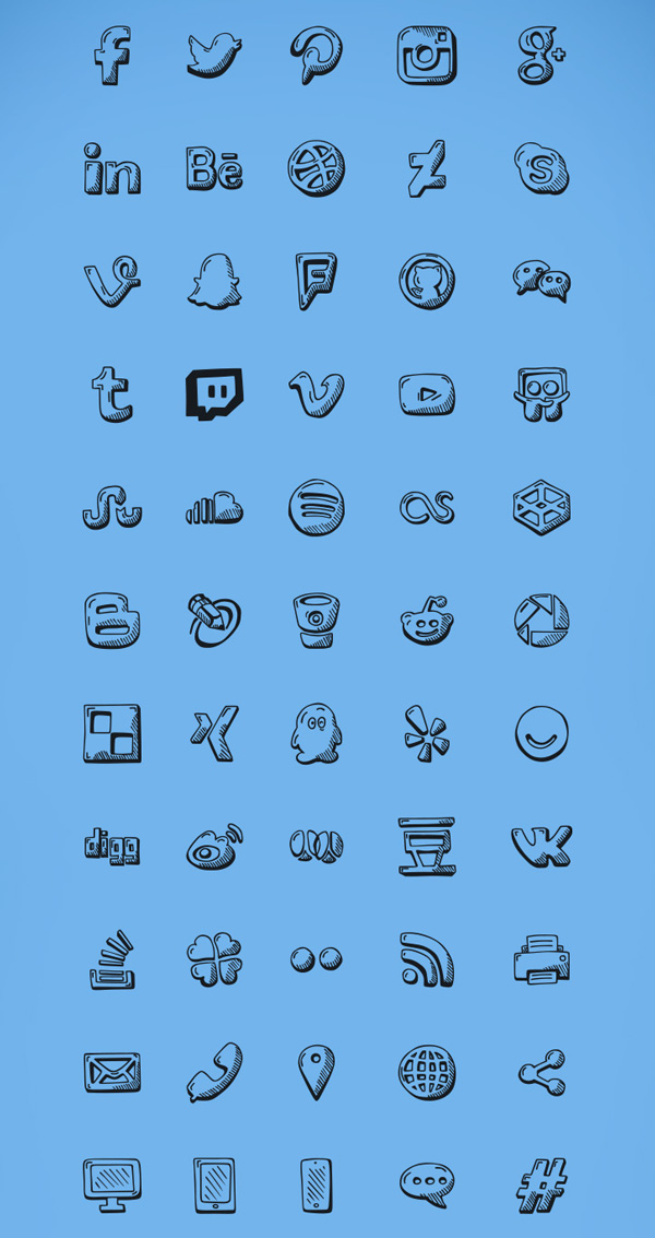 2.Social Hand Drawn Icons