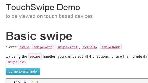 TouchSwipe – A jQuery plugin to be used on touch devices