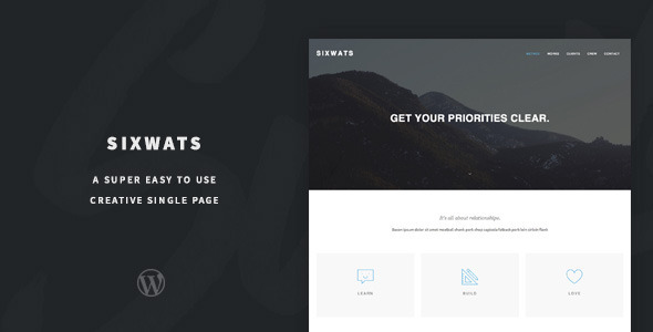 Minimal One Page WordPress Theme