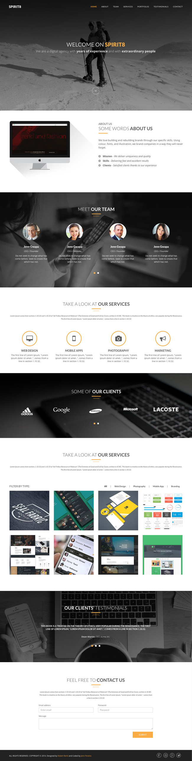 Free Download : Spirit8 – Bootstrap Based HTML Template (PSD ...