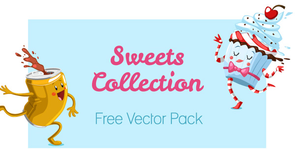 Free Vector Pack   Sweets Collection (Cakes, Muffins, Ice ...