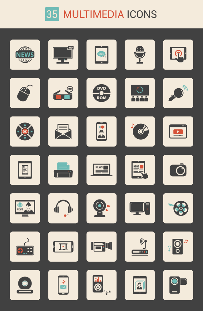 multimedia-icon-set