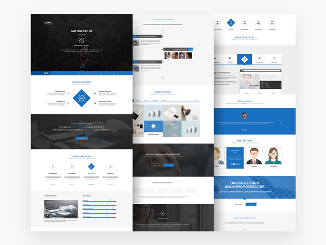 Free download clean one page website template psd for Website layout design software free download