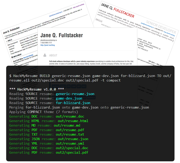 hackmyresume  u2013 create polished resumes and cvs in multiple