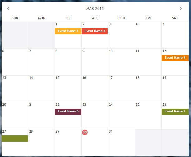 Monthly Calendar Using Javascript : Monthly js a jquery based responsive calendar plugin