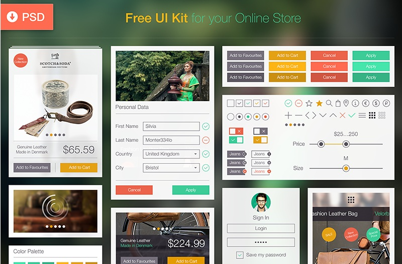 29 free ecommerce ui kits for web and app designers for Design store online