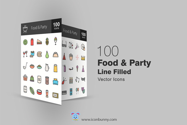 100 Free Food and Party Icons (exclusive) | Designbeep